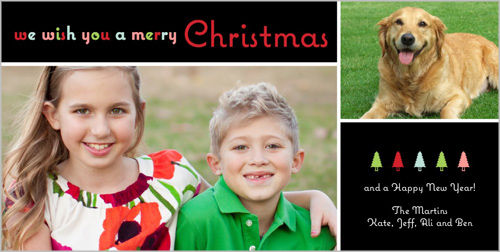 Shutterfly Bold Bright Wishes Christmas 4x8 photo card