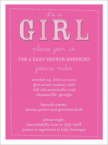 Shutterfly She's A Girl Baby Shower Invitation